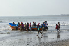 Fishermen returned from fishing. Fishermen returned from the fishing in small village in Nicaragua Royalty Free Stock Photo