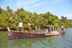Fishermen on the river Chapora Stock Image