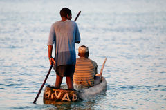 Fishermen in rural Mozambique. On a boat Royalty Free Stock Image