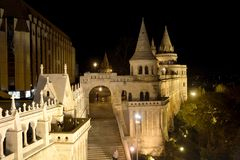 The Fishermen`s Bastion at night, Budapest, Hungary Stock Photography
