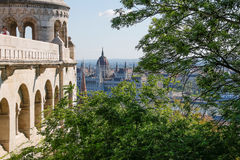 Fishermen's Bastion in the summer. Architectural details. Budapest, Hungary. Royalty Free Stock Photo
