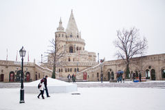 Fishermen's bastion at winter in Budapest, Hungary Royalty Free Stock Photo