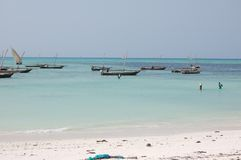 Fishermen's boats. In Zanzibar, Tanzania royalty free stock photos