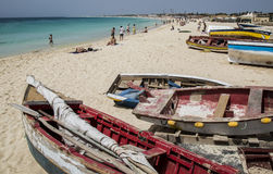 Fishermen's boats on beach at Santa Maria on Sal Stock Photos