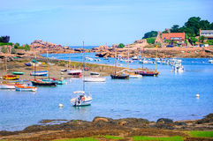 Fishermen's boats on Cote de Granit Rose, Brittany, France Stock Photography