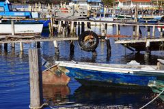 Fishing boats docked royalty free stock photo
