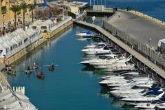 Fishermen's boats in Valletta harbor Malta Stock Image