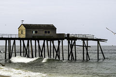 Fishermens clubhouse on fishing pier in Belmar on  Royalty Free Stock Photos