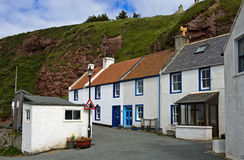 Fishermen`s cottages in the village of Pennan Stock Photos