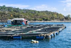 Fishermen`s house and fish farm on the water. Royalty Free Stock Photo