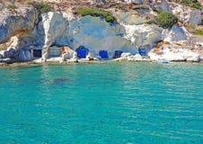 Free Fishermen`s Huts Carved Into The Rocky Coast Of Kimolos Island Stock Photo - 112436440
