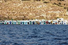 Colourful fishermen`s huts stock photography