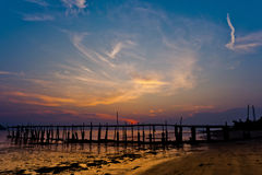 Fishermen's Jetty. A fishermen's jetty in Tanjung Dawai, Kedah, Malaysia after the sun set Stock Photos