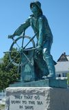 Fishermen's Memorial. Gloucester, MA, reads They That Go Down To The Sea In Ships and is a tribute to all who have lost their lives at sea stock photography