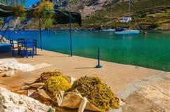 Fishermen's nets drying on sun, Greece Royalty Free Stock Photo