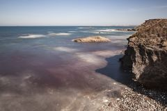 Fishermen`s Route, Alentejo Coast in southwest Portugal, with its rock formations and transparent waters. Situated in the south-west of Portugal, is royalty free stock photography