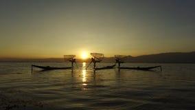 Fishermen's silhouettes, Inle Lake stock footage