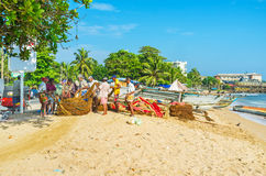 Fishermen`s team work Royalty Free Stock Images