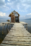 Fishermen`s village. With houses made of cane and wooden docks in southern Europe Stock Photo