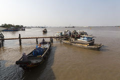 Fishermen at Saigon river Royalty Free Stock Photography