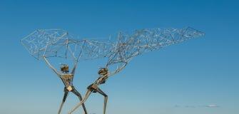 Fishermen sculpture on Onega lake embankment, Petrozavodsk. Russia Royalty Free Stock Image