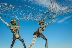 Fishermen sculpture on Onega lake, Petrozavodsk, Russia Stock Images