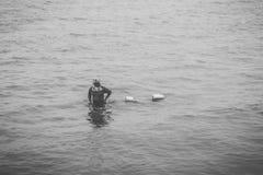 Fishermen on sea. Fishing tools Nets, buoys Stock Photos