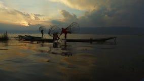 Fishermen of Shan stat, Inle Lake stock footage