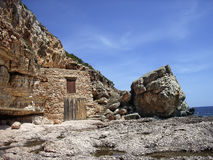 Fishermen Shelter. Ancient Fishermen Shelter in the Majorca's coast (Spain Royalty Free Stock Images
