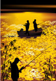 Fishermen silhouettes at gold sunset Royalty Free Stock Images
