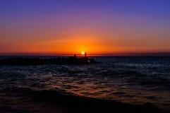 Fishermen In Soft Sunset Royalty Free Stock Image