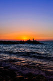 Fishermen In Soft Sunset Stock Images