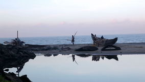 Fishermen in south India stock video footage