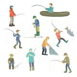 Fishermen spend time fishing. Fish in a boat, casting fishing rods, fishing with a net, sitting at a hole in the hole or holding a. Catch. Vector illustration royalty free illustration