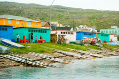 Fishermen in St Pierre harbor Royalty Free Stock Images