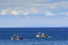 Fishermen in the Strait Gibraltar. Moroccan fishermen went out to sea on three vessels exposed to networks in the Strait of Gibraltar Royalty Free Stock Photography