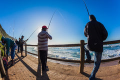 Fishermen Sunrise Sea Close Rear  Royalty Free Stock Image