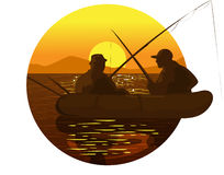 Fishermen at sunset Stock Images