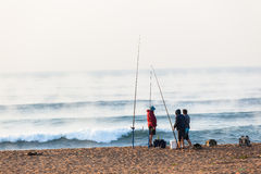 Fishermen Surf Waves Sunrise Beach Holidays Royalty Free Stock Image