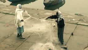 Fishermen with their net in Varanasi stock video