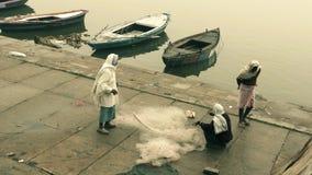 Fishermen with their net in Varanasi stock footage