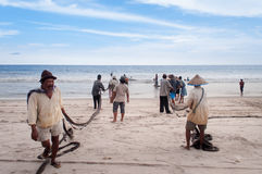 Fishermen on Tiku beach Stock Photo