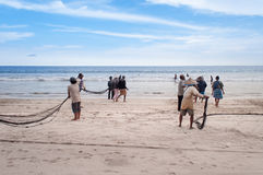 Fishermen on Tiku beach Royalty Free Stock Photo