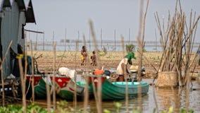 Fishermen, Tonle Sap, Cambodia Royalty Free Stock Image