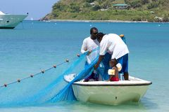 Fishermen in Tortola, Caribbean Royalty Free Stock Images