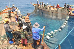 Fishermen are trawling for tuna fish in the sea of Nha Trang bay in Vietnam Royalty Free Stock Images