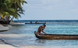 Fishermen in tropical water Royalty Free Stock Photography