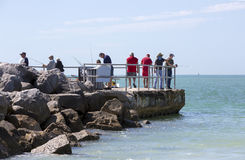Fishermen trying their luck in the Gulf of Mexico Royalty Free Stock Photography
