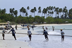 Fishermen in Uppuvell beach, Sri Lanka Royalty Free Stock Photos