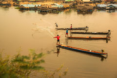 Fishermen using net to catch fishes in the river Royalty Free Stock Photo